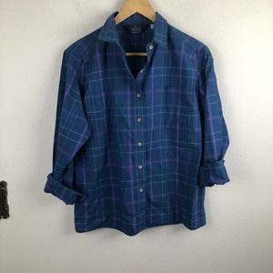 Vintage Woolrich Windowpane Plaid Blue Shirt